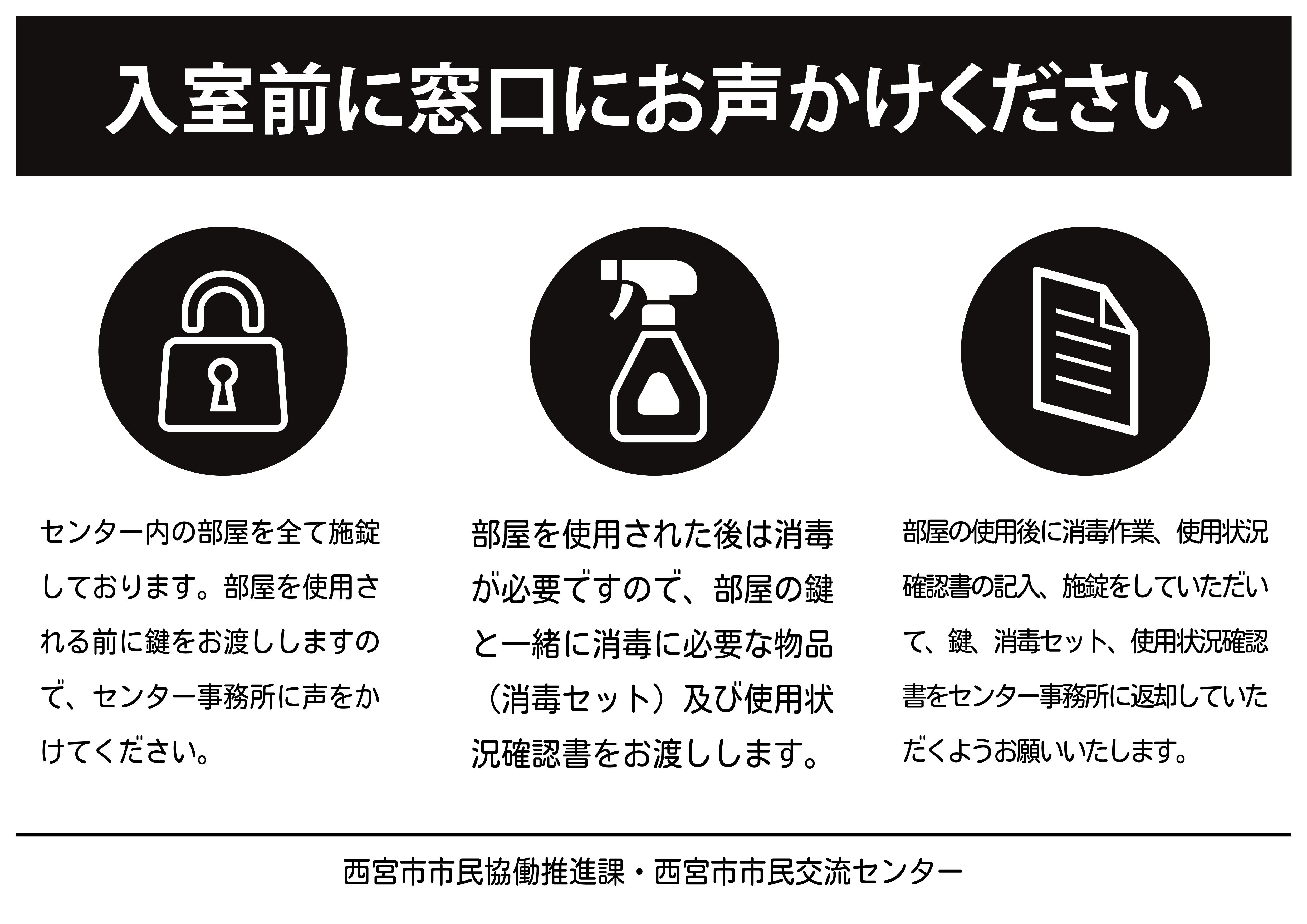 使用状況確認書と鍵手渡の受渡掲示